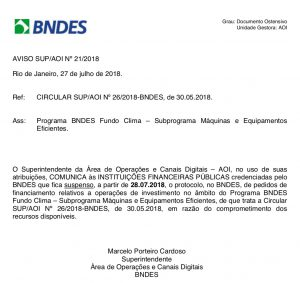 Circular do BNDES suspendendo os financiamentos do fundo clima por falta de recursos.
